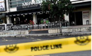 The site of a grenade attack at a restaurant in Puchong district outside of Kuala Lumpur on 28 June 2016.