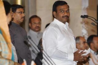 Member of the Dravida Munnettra Kazhagam (DMK), A. Raja (R) takes the oath as cabinet minister from President Pratibha Patil (L) during the swearing-in ceremony at the presidential palace in New Delhi on May 28, 2009. Indian Premier Manmohan Singh, flush from a resounding national election win, added 59 members to his week-old cabinet, rewarding loyal coalition allies with ministerial post