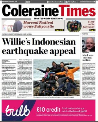 Front page of the Coleraine Times