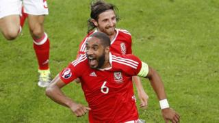 Wales Ashley Williams celebrates scoring an equalizer during the Euro 2016