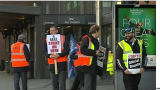 Bus strikers at bus station