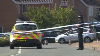 Police cordon at murder case scene