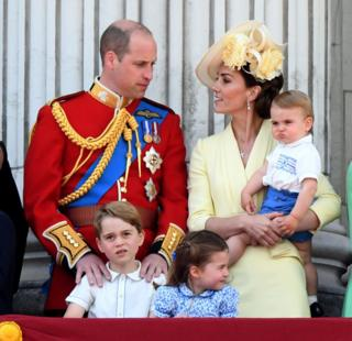 William, Catherine and family at Trooping the Colour