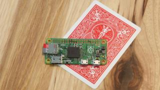 Raspberry Pi Zero with a playing card