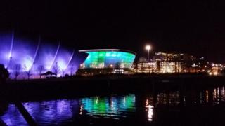 Hydro in Glasgow lit up at night