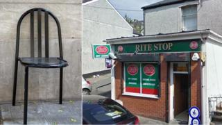 A chair with three legs and the Rite Stop shop