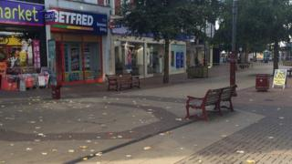 The Calverley Road shopping precinct empty after police evacuated the area