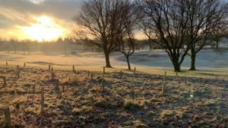 A frosty morning on a golf course