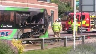 Bus fire in york