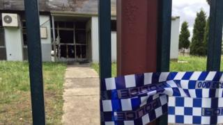 Police tape outside Melbourne's Imam Ali Islamic Centre, after a fire last year