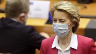 Ursula von der Leyen wearing a face mask in the European Parliament
