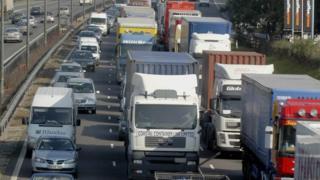 A traffic jam on a motorway