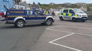 Police and coastguard at Portpatrick harbour