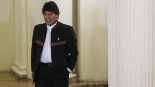 Evo Morales ahead of press conference in La Paz