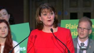 Leanne Wood yn lansiad maniffesto Plaid