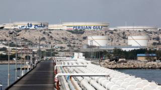 An Iranian oil facility on Khark Island, on the shore of the Persian Gulf.