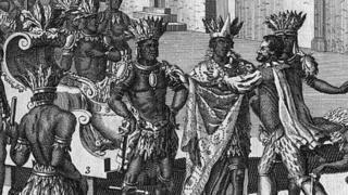 স্পেনের অভিযাত্রী হারনানদো অ্যাজটেক রাজা মন্টেজুমার সঙ্গে সাক্ষাৎ করছেন