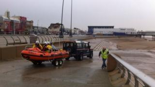 One of Blackpool's RNLI inshore boats being launched to search for missing plane