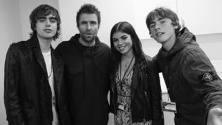 Liam Gallagher with his offspring Lennon, Molly and Gene