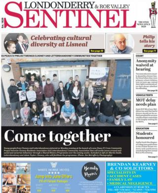 Front page of this week's Londonderry Sentinel