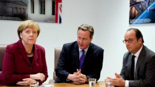 Angela Merkel, David Cameron and Francois Hollande