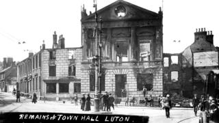 Burnt Luton Town Hall