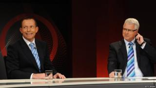 Prime Minister Tony Abbott, then the Opposition leader, sits with Q&A host Tony Jones on the set of the TV show