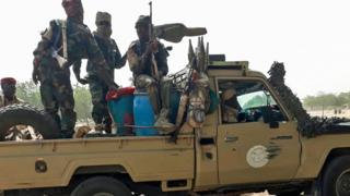 Chadian soldiers in a pickup truck - January 2020