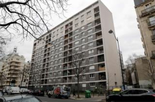 An apartment block in the 11th arrondisement of Paris on 26 March 2018, where the alleged murder of an 85-year-old Jewish woman took place