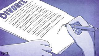 Illustration of Divorce papers