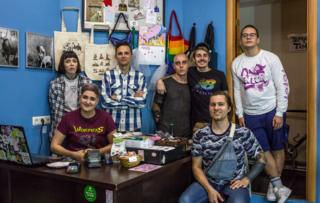 Anya, Igor, Iiuri, Nikita, Danya and staff members at Llamas vegan shop in St Petersburg