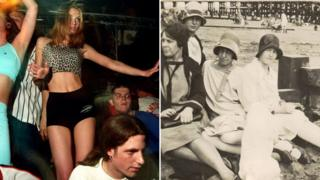 Raving on the pier, 1997; women on the beach 1920s
