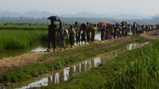 Refugiados muçulmanos rohingya saem de Mianmarpara Bangladesh, em 3 de novembro de 2017