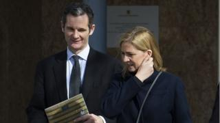 Spain's Princess Cristina (R) and her husband, former Olympic handball player Inaki Urdangarin leave the courtroom in the Balearic School of Public Administration (EBAP) building in Palma de Mallorca, on the Spanish Balearic Island of Majorca on February 26, 2016