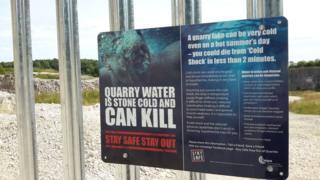 Danger sign at quarry