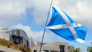 Saltire flag flying outside Scottish Parliament