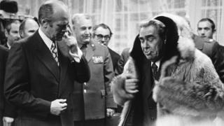 US President Gerald Ford with Soviet leader Leonid Brezhnev at the Vladivostok Summit USSR November 23rd 1974.
