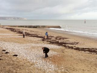 People on the beach at Sandown Bay, Isle of Wight