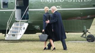 Дональд Трамп и его дочь Иванка садятся в вертолет