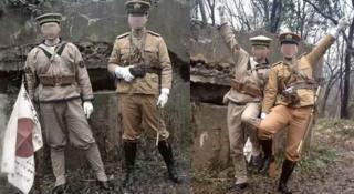 兩名中國男子在南京紫金山穿日本軍裝