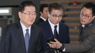 Chung Eui-yong (L), the national security adviser to the South Korean president, and Suh Hoon (C), head of the National Intelligence Service leave for the US (8 March 2018)