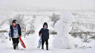 Two boys and a snowman