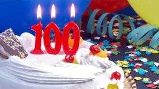 Birthday cake with 100