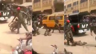 Images of soldiers beating disabled man