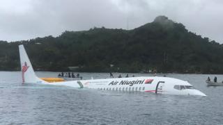 Air Niugini plane in the water off Weno, Chuuk, Micronesia