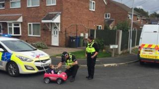toddler being breathalysed