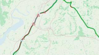Map of stretch of M5 shut by crash