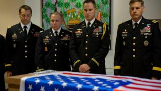 US military officers stand around the coffin of American Taylor Force, a 28-year-old MBA student at Vanderbilt University and a West Point graduate, who was killed in a stabbing attack, during a private ceremony, at Ben Gurion airport, near Tel Aviv, Israel, 11 March 2016