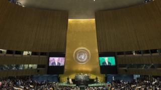 Assembleia Geral da ONU durante discurso de Temer