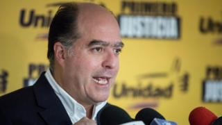 President of the National Assembly Julio Borges speaks at a press conference in Caracas, Venezuela, 22 October 2017.